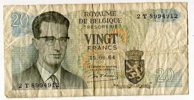 Бельгия 20 франков 1964 год