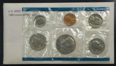 США набор монет 1980 год в запайке