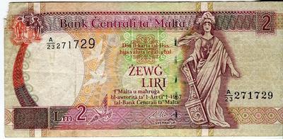 Мальта 2 лиры 1967(1994) год
