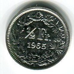 Швейцария 1/2 франка 1965 год