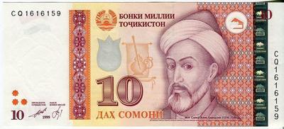 Таджикистан 10 сомони 1999(2013) год