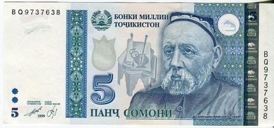 Таджикистан 5 сомони 1999(2013) год
