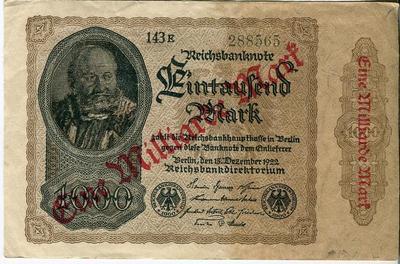 Германия 1000 марок 1922 год надпечатка 1 млрд