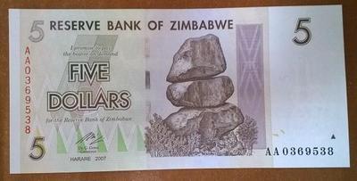 Зимбабве 5 долларов 2007 год