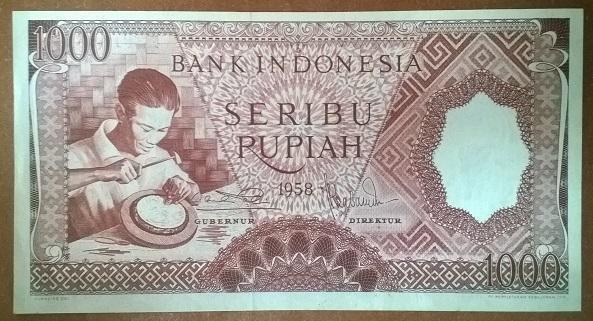 Индонезия 1000 рупий 1958 год Pick 61