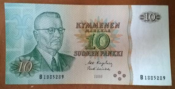 Финляндия 10 марок 1980 год
