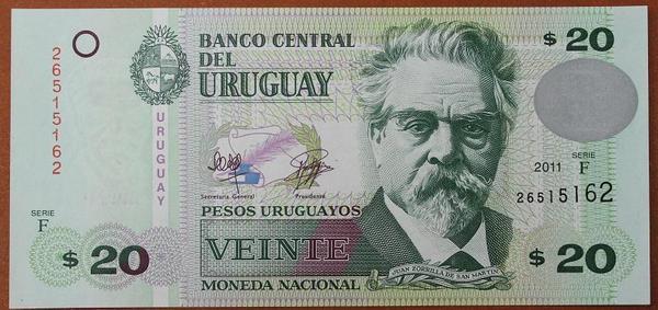 Уругвай 20 песо 2011 год