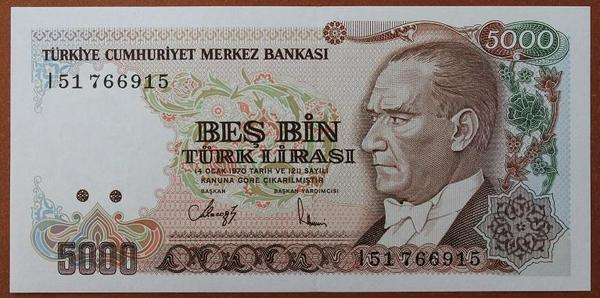 Турция 5000 лир 1990 год
