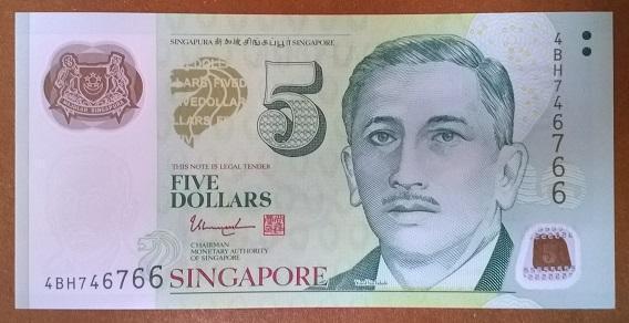 Сингапур 5 долларов 2005 год
