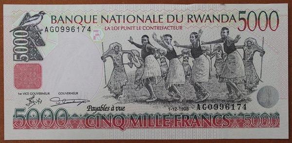 Руанда 5000 франков 1998 год