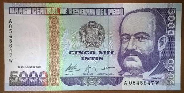 Перу 5000 инти 1988 год