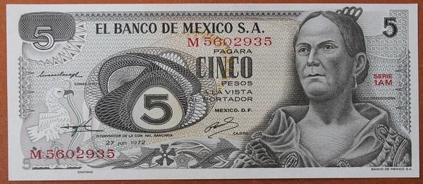 Мексика 5 песо 1972 год