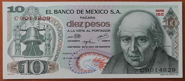 Мексика 10 песо 1975 год