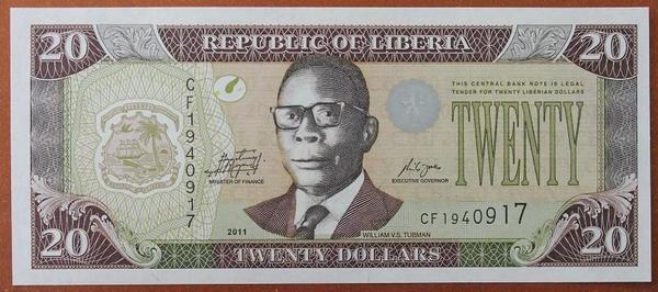 Либерия 20 долларов 2011 год