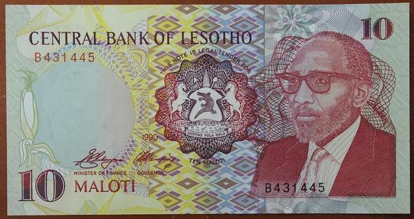 Лесото 10 малоти 1990 год