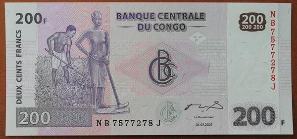 Конго 200 франков 2007 год