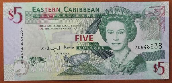 Восточно-Карибские-Государства 5 долларов 2008 год