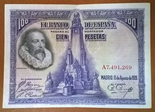 Испания 100 песет 1928 год