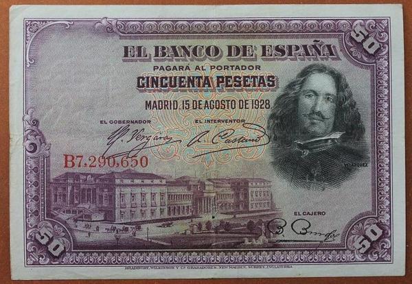 Испания 50 песет 1928 год