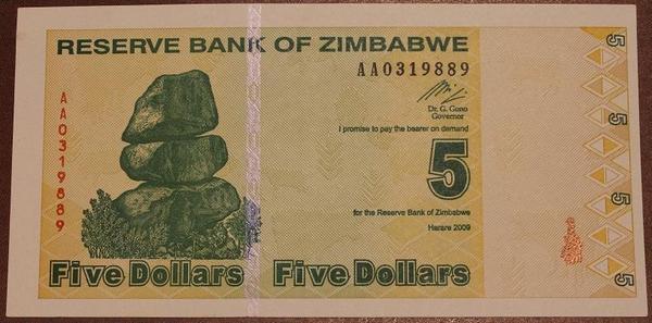 Зимбабве 5 долларов 2009 год
