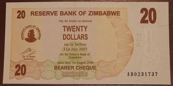 Зимбабве агро-чек 20 долларов 2007 год