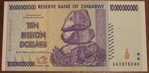 Зимбабве 10 миллиардов долларов 2008 год