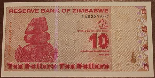 Зимбабве 10 долларов 2009 год