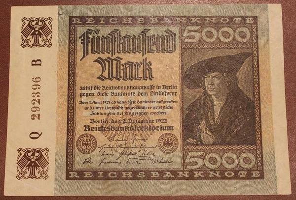 Германия 5000 марок 1922 год