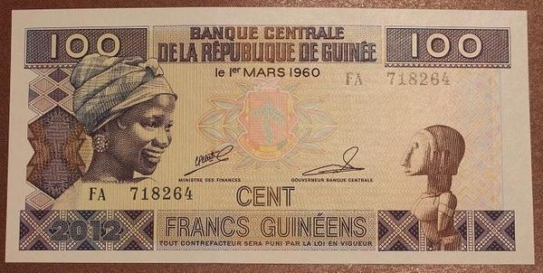 Гвинея 100 франков 2012 год