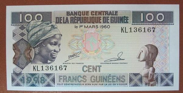 Гвинея 100 франков 1998 год