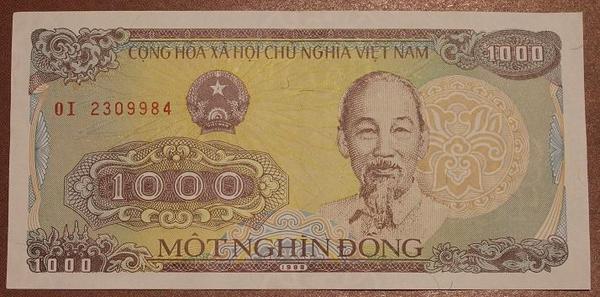 Вьетнам 1000 донг 1988 год