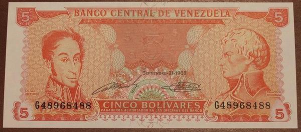 Венесуэла 5 боливар 1989 год