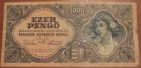 Венгрия 1000 пенгё 1945 год