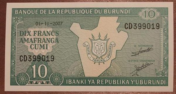Бурунди 10 франков 2007 год