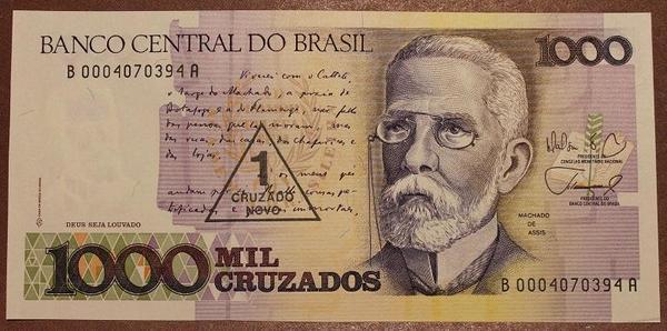 Бразилия 1000 крузадо на 1 новый крузадо 1989 год