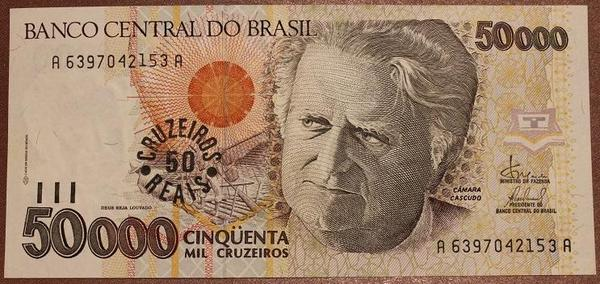 Бразилия 50 крузейро реал на 50000 крузейро 1993 год