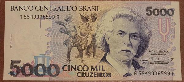 Бразилия 5000 крузейро 1990-1993 год
