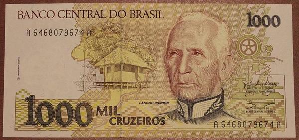 Бразилия 1000 крузейро 1990-1991 год