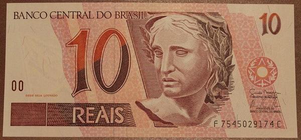Бразилия 10 реал 1997 год