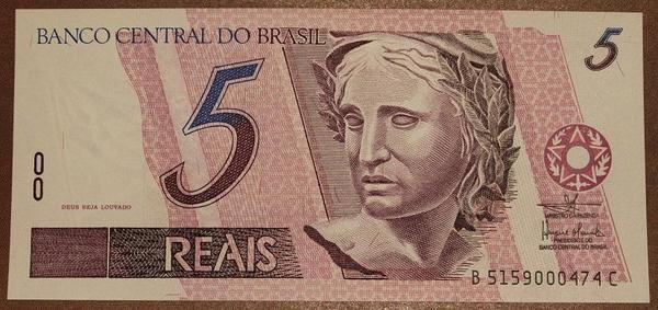 Бразилия 5 реал 1997 год