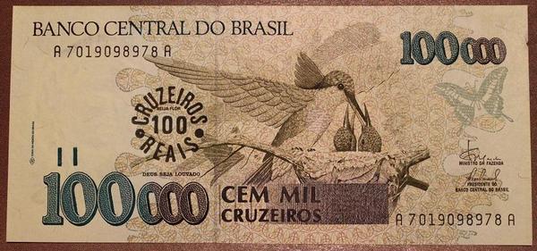 Бразилия 100000 крузейро 1993 год