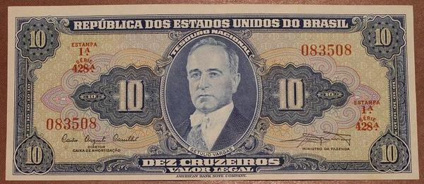 Бразилия 10 крузейро 1961-1963 год