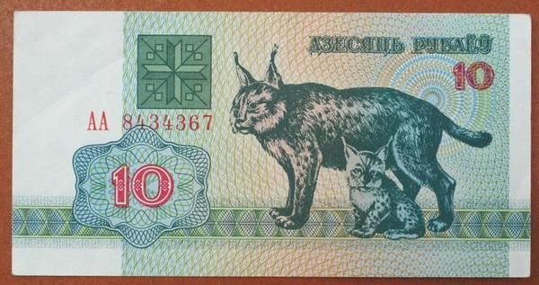 Белоруссия 10 рублей 1992 год