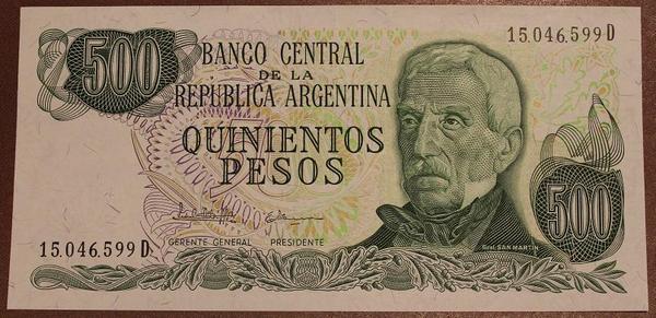 Аргентина 500 песо 1977-1982 год