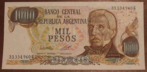 Аргентина 1000 песо 1976-1983 год