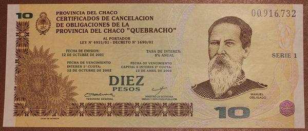 Аргентина 10 песо 2001 год провинция Чако