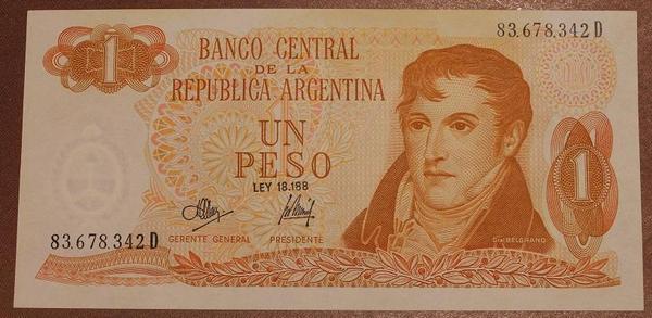 Аргентина 1 песо 1974 год