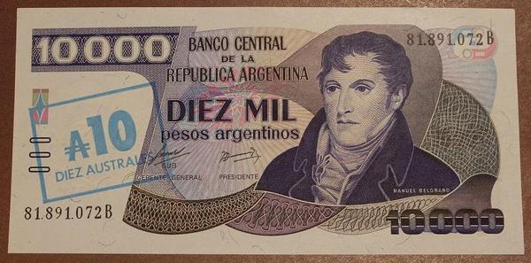 Аргентина 10 аустраль 1985 год