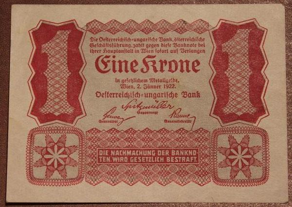 Австрия 1 крона 1922 год