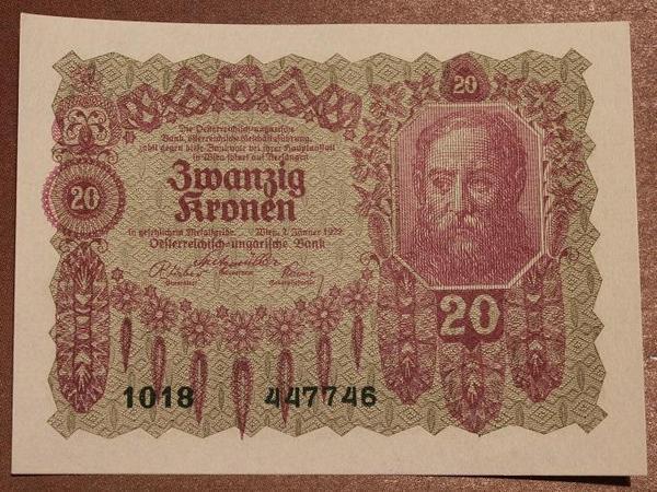 Австрия 20 крон 1922 год